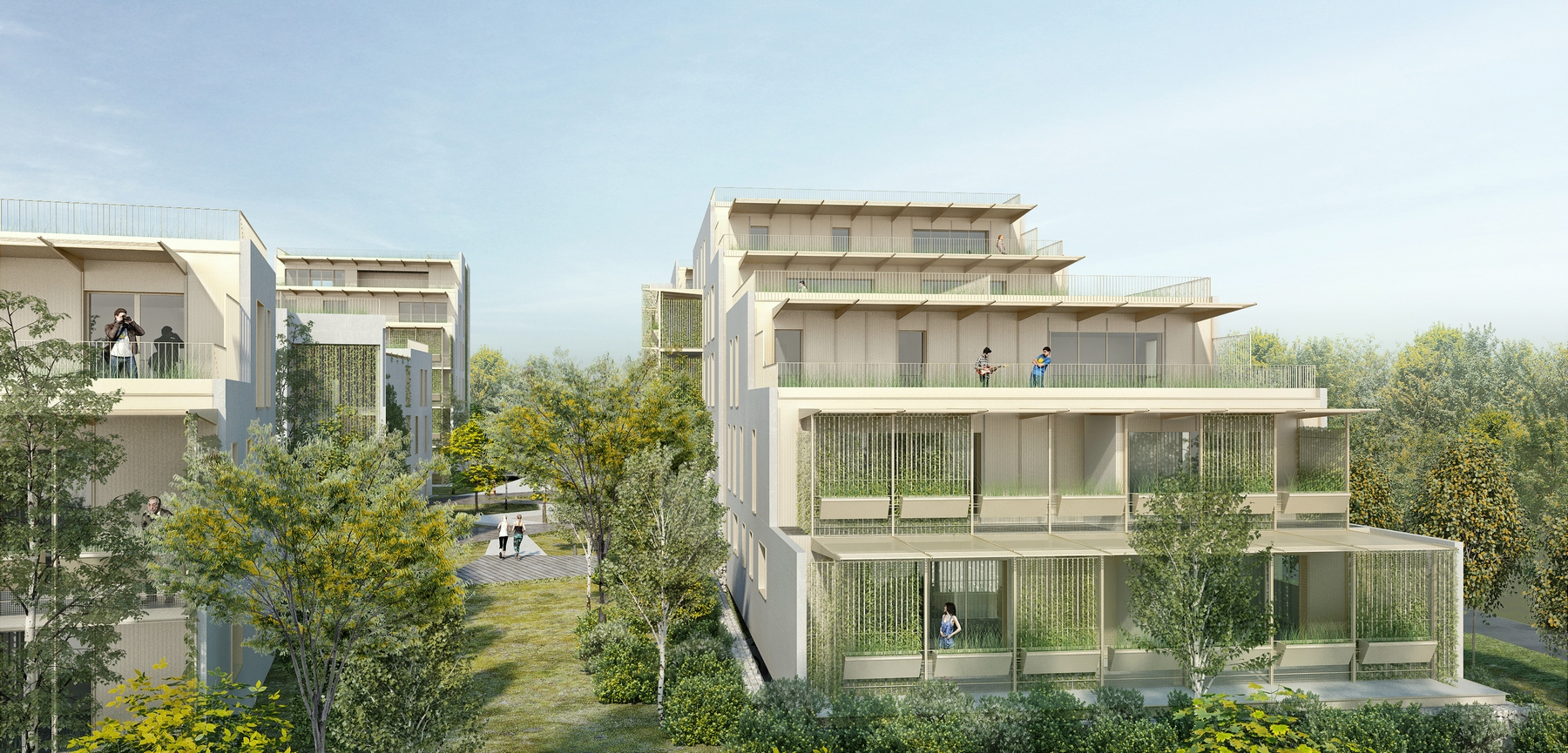 Vue sur le projet de logements de l'îlot des anciens ateliers départementaux (Arotcharen)