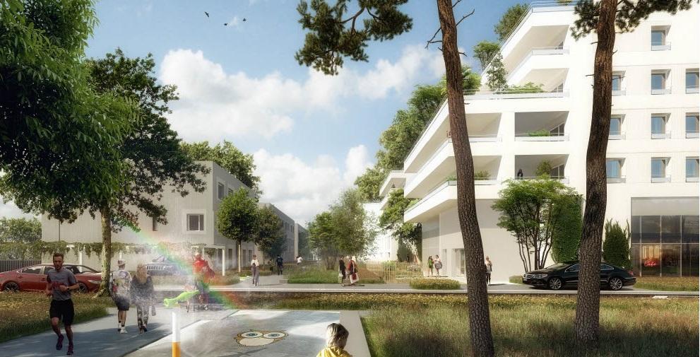 Vue sur une cours partagée de l'îlot B2-B6 (Martin Duplantier Architectes)